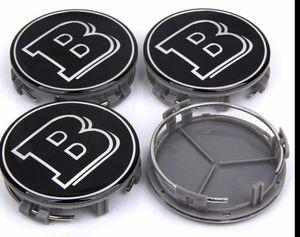 4 pezzi 75 millimetri d'argento del centro di rotella Caps protezione di mozzo Hub copertura distintivo dell'emblema per BRABUS AAA