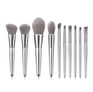 En Yeni Gümüş makyaj fırçaları Göz farı Allık gevşek toz kozmetik süper yumuşak naylon saç damla nakliye için 10 Ad fırça araçlarını ayarlamak