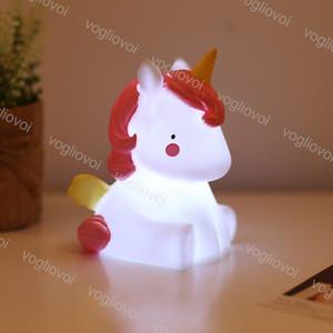 Night Light Unicorn Мультфильм животных тумблер Розовый Белый Винил ПВХ 6500K Закрытый для кормления младенца Успокаивающий Спящий Декоративное DHL