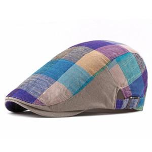 Yetişkin Erkek Ekose Moda Summer Sun Şapka için Erkekler Kadınlar Casual Pamuk Bereliler Gorras Planas, solcular Düz Berets Caps