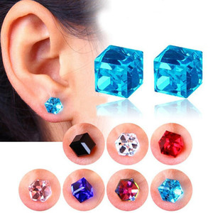 Moda Cubo de Água Saúde Ímã Cor De Cristal Brinco Não Perfurado Brincos Para As Mulheres Forte Magnetic Ferro Jóias de Ouvido 9 Cores