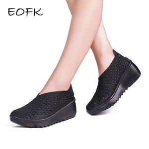 EOFK 2019 respirável Mulheres Woven Sapatos sapatos Handmade tecido elástico mocassim Nylon Platform Wedges Shoes WomanMX190917