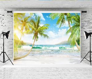 꿈 7 x 5ft 열 대 해변 섬 사진 배경 야자수 햇빛 경치 사진 배경 하늘 흰 구름 촬영 배경