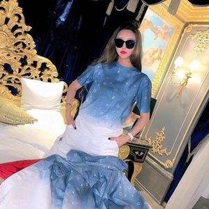 2020 La nueva moda de manga corta de algodón puro de las mujeres del verano impreso holgada camisetas gradiente de rampa camisetas libera del envío