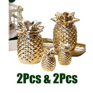 2 Set Cerâmica Golden Pineapple ornamento Estatueta Artificial Fruit Showpiece