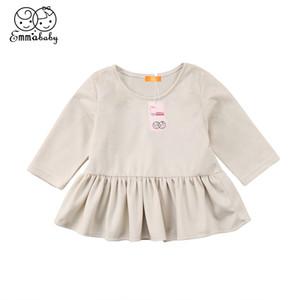 2018 Nouveau doux enfant en bas âge Enfants Bébés filles Velvet Lone manches robe des enfants d'automne Casual mignons robes beige de vêtements