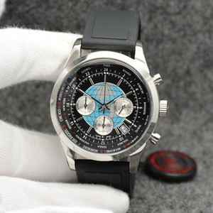Reloj para hombre Transocean, 44 mm, cuarzo, cronógrafo, para hombre, relojes excelentes, relojes de pulsera con hora mundial, esfera negra y banda elástica.