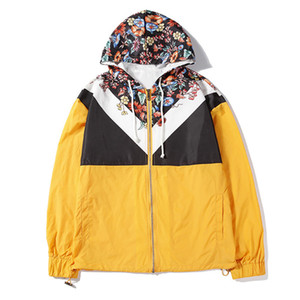 Mens способа куртки Mens стилиста Куртка с капюшоном Мужские Женская мода Hip Hop длинным рукавом Ветровка Размер M-2XL
