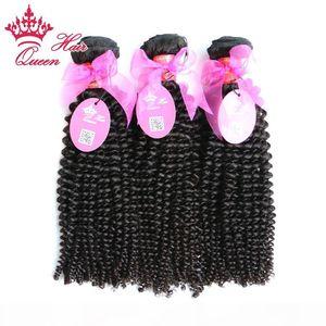 """Queen Hair 100% Virgin Human Hair лучшее качество 8""""-30"""" 3 шт. лот virgin бразильский кудрявый вьющиеся волосы weave в наличии цена по прейскуранту завода-изготовителя"""