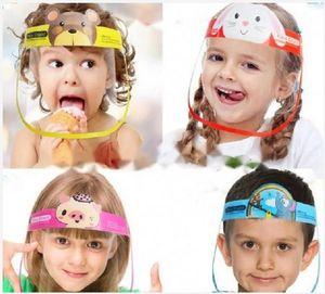 DHL Ship! Kid Cartoon Face Shield Transparent Protective Masks Dustproof Anti-Fog Full Face Shield Anti Dust Windproof PET Mask