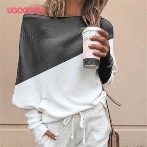 UGOCCAM sexy fuori dalla spalla camicetta casual maniche lunghe Donne Loose Women Top Camicie Lady Fashion Blouse Shirt Plus Size