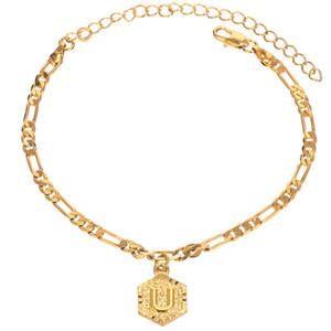 Customized iniziale 4 millimetri fascino di colore dell'oro di Figaro catena del calzino per il braccialetto alla caviglia di modo delle donne personalizzata con Lettera di alfabeto