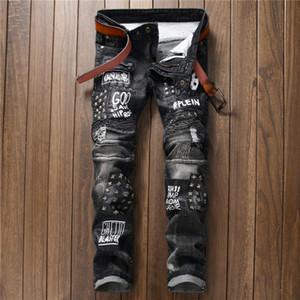 2018 MARCA de la moda de diseño original de los pantalones vaqueros de los hombres de los pantalones vaqueros motorista remache de la letra delgada del ajuste de los pantalones vaqueros de estilo Balman hi-calle 550-4 #