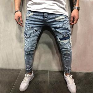 Neue Mens-dünne Jeans-beiläufige dünner Biker Jeans Denim Knie Loch hiphop zerrissene Hosen Gewaschene Qualität geben Verschiffen frei
