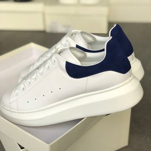 Azul real para hombre de las mujeres de la plataforma zapatilla de deporte de los instructores de diseño de gamuza blanca piel cuero reflexiva 3M multicolor cordones de los zapatos de la boda bonita