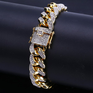 Or blanc 18 carats d'or Glacé CZ Zirconia Miami Cuban Chain Link Bracelet 10 14 18mm Rapper Hip Hop Bijoux Cadeaux Curb pour les garçons en gros