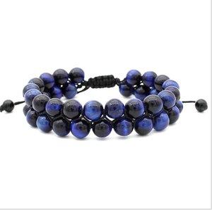 Einstellbare Perlen Bracele 8 MM Blau Tiger Red Tiger Eye Doppelschicht Geflochtene Kreative Perlenarmband Freies Verschiffen