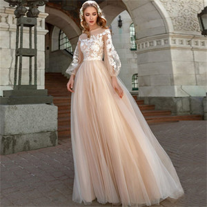 Apliques A-Line Wedding Dress Lanterna Sleeves Tule Boho Vestidos de casamento Vestido de Novia Princesa Vestido de festa de casamento