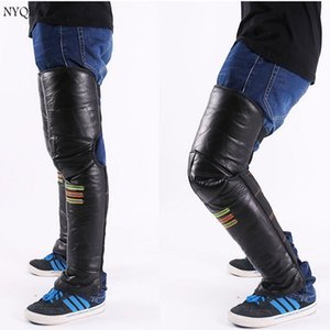 Riding motorcycle Genuine Leather knee and warm winter electric vehicle knee leg protection against cold wind and lengthen male