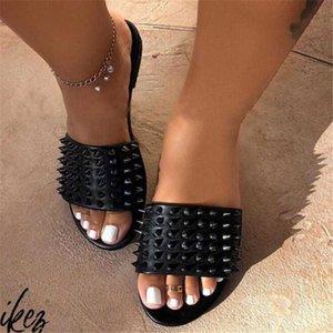 Bayanlar Düz Slaytlar Yaz Ayakkabı Kadın ayakkabı Dış Şeker Renk Kadınlar Plajı Terlik Açık Burun Sandalet Bayan Perçin Terlik