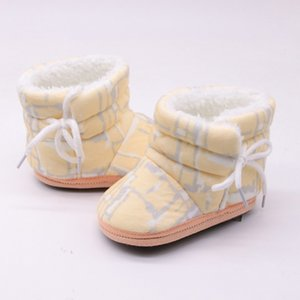 Baby Girl Shoes Print Winter Boots Warm Fur Snow Boot Infant Toddler First walkers Child Crib Soft Sole Shoes