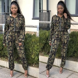 2019 women casual green camouflage 2 piece tracksuits spring autumn long sleeve zipper hoodies and fit slim long pants LM8035 T200606