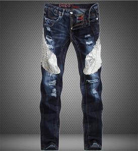 Mens Designer Jeans populaire Blue Eagle Patchwork Slim Jeans droit Jeans Mid Size Jeans Vêtements pour hommes