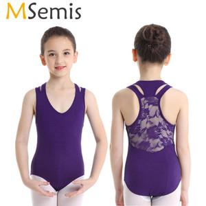MSemis Kızlar Bale Leotard Giyim Dance Wear Balerin Çocuk Kolsuz Dantel Racer Geri Ritmik Cimnastik Leotard bodysuit