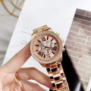 Großhandel Berühmter michael Frauen Strass Uhren Mode-Kleid-Dame-Uhr-Frauen Luxus Roségold Uhr-Edelstahl-Quarz cloc