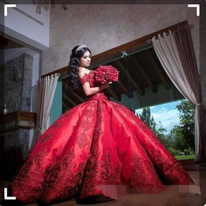 2019 Red Ball Gown Quinceanera Dresses Elegant Off the Shoulder Lace Applique Satin Sweet 16 Birthday Party Dress Custom Made