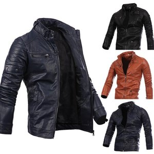Spring New Fashion Mens Designer PU Leather Jackets Best Price Jackets Slim Casual Streetwear Vintage Mens Coat fz5049