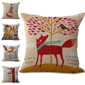 Fox animal fronha de linho Capa de almofada de algodão Praça Throw Pillow Covers 6 cores personalizadas gratuito 45x45cm 100g