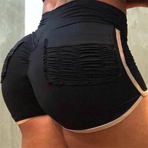 Sexy Push Up Женщины Спортивные Йога Шорты для Бега 2019 Лето Высокой Талией Лоскутное Карман Эластичные Шорты Фитнес Женщины