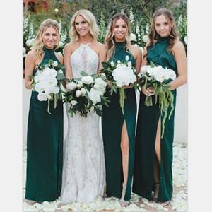 Robes de demoiselle d'honneur sirène vert chasseur élégant pas cher col haut gaine de mariage robe de bal Sexy robes de soirée de bal d'étudiants demoiselle d'honneur porter