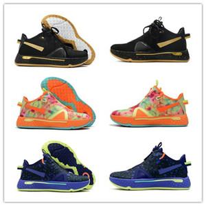 새로운 도착 폴 조지 PG PG4 스포츠 CHAUSSURES 정 트레이너 스포츠 스니커즈 크기 40-46를 들어 4 개 IV 오렌지 블랙 네이비 남성 농구 신발