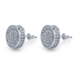 New Fashion Iced Silver Mens Earrings Out Gold CZ Bling For Rock Stud G Diamond Earrings Punk Round Wedding Mens Xbcht