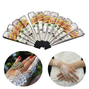 White Natural Indian Henna Tattoo Body Art Painting Temporary Tattoo Cream Paste Cones For Wedding And Festival Mehndi Tattoo Cream Dhl Free