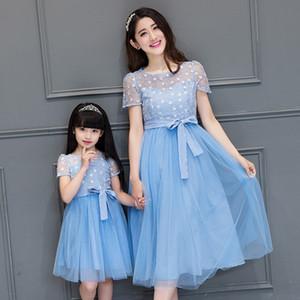 2019 filles robe en dentelle mère fille Robes Vêtements femme Maxi robe de mariée et maman robe de fille Vêtements Maman et moi Y19051103