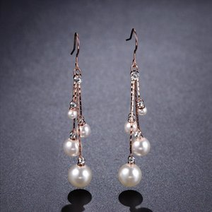 Earrings Women Crystal Simulated Pearl Four Chain Bridal Long Dangle Hook Earrings Ivory Color Fashion Elegant Jewelry Gift Accessories New