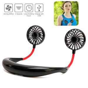 Fan portátil Esporte Free Hand pessoais Mini Fan USB recarregável Neck Fan dupla de arrefecimento 360 graus de ajuste cabeça preguiçoso pescoço Suspensos Fans