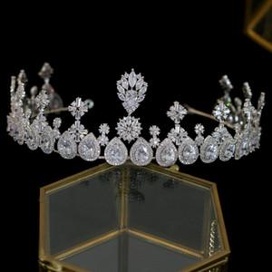 Yeni Uzun Taşlı Kadın Gelin Taç Takı Parade Şapkalar Düğün Saç Aksesuarları Zirkon taç headpieces