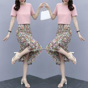 Chiffon vestito floreale estate manica corta nuovo set viola delle donne del vestito Fishtail gonna fishtail skirt due pezzi