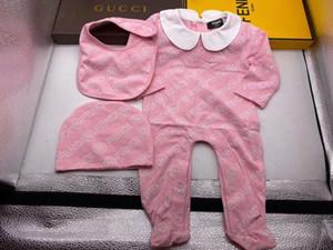 Kleinkind-Säuglingsspielanzug-Baby-Kleidungs-Satz-Jungen-Mädchen-volle Hülsen-Soft-Overall-Spielanzug + Hut + Lätzchen 3pcs / set Anzug