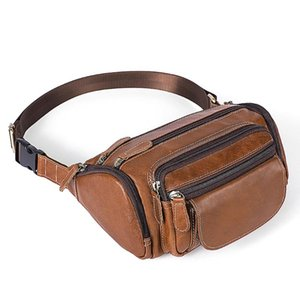 MAHEU cuero genuino de viajes Bolsa de cintura del paquete de Fanny hombres correa de cuero de la cintura bolsa de bolsas de teléfono pequeño mensajero en el pecho para el hombre