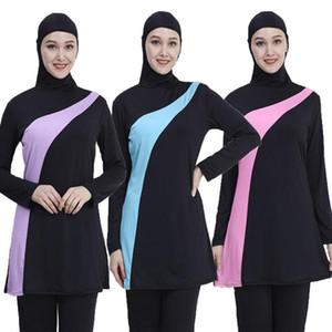 2020 Maillot manches longues Muslim Plus Size Maillots de bain Maillots de bain Femme d'été Femmes Muslim Islam modeste maillot de bain complet Cove