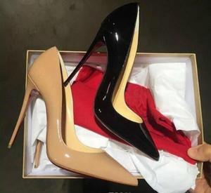 أنماط الشحن مجانا حتى كيت 8CM 10CM 12CM الكعوب العالية أحذية الأحمر أسفل اللون عاري اصلي جلد بوينت تو مضخات أحذية الزفاف المطاط