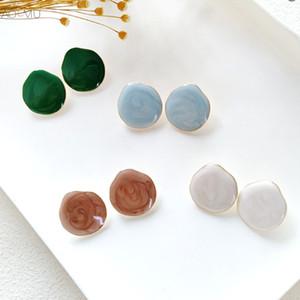 AOMU 2018 Nouvelle Corée Vintage Motif Cercle géométrique ronde en résine Boucles d'oreilles pour Femmes Filles Accessoires d'oreille