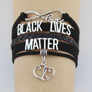 10PCS / lot Infinity Love Lives Noir Matter Double Coeur Charm Retour Le coeur bleu Wrap Bracelets Charm Bracelet Femmes Hommes Bijoux