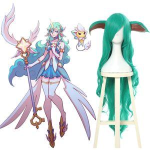 LOL Soraka Star Guardian Cosplay Wigs Long Green Wavy Curly Hair Wig with Ears