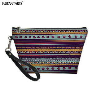 INSTANTARTS Fashion Ladies Cosmetic Bag Bohemia Style Print Leather Zipper Toiletries Organizer Case Girls Make Up Pouch Bags